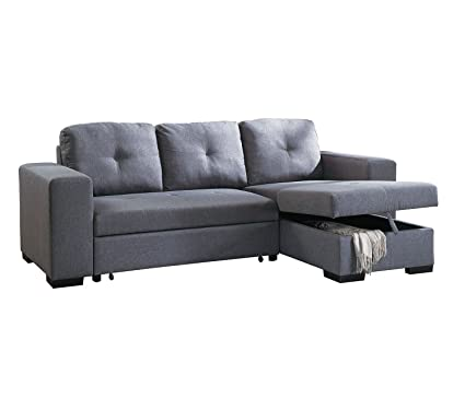 Poundex F6910 Bobkona Forbes Sectional Set, Blue Grey
