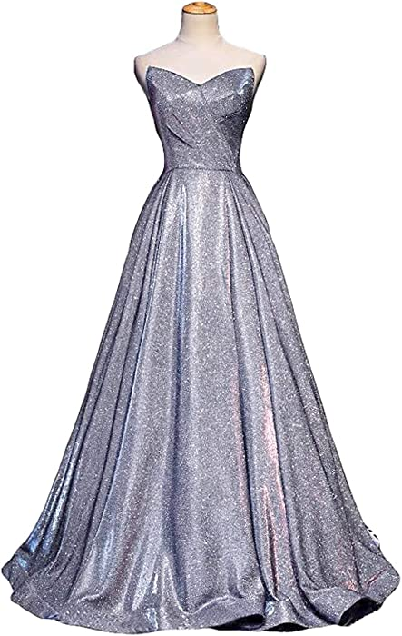 85c39c58 LEJY Women's Strapless Glitter Prom Evening Dresses Long Sequin Ball Gowns  2019 Metallic Silver Style A