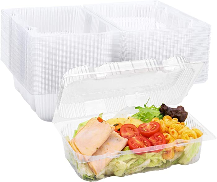 50 Pack Clear Plastic Hinged Food Containers, Disposable Loaf Containers with Lids Take Out Hoagie Boxes for Cake Salad Pasta Sandwich (7in x 4.7in x 2.6in)