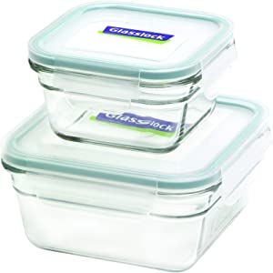 Glasslock 11342 4-Piece Square Oven Safe Container Set