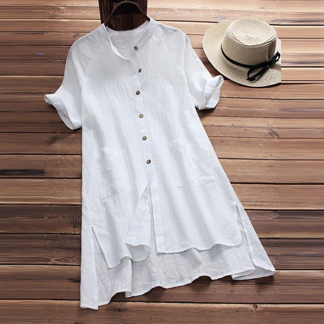 Women Button Up Loose Linen Blouse Short Sleeve Solid Casual T Shirt Pocket Top
