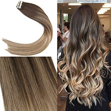Amazon Com Youngsee 16inch Balayage Remy Tape In Hair Extensions