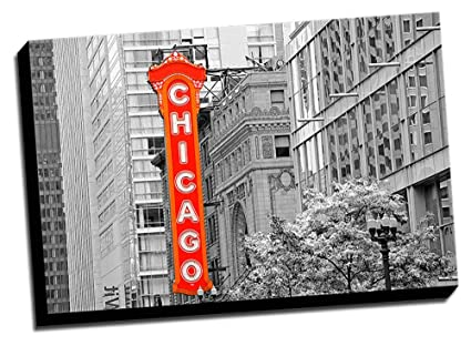 Chicago theatre color splash 24x36 wall decoration photo image printed on canvas stretched