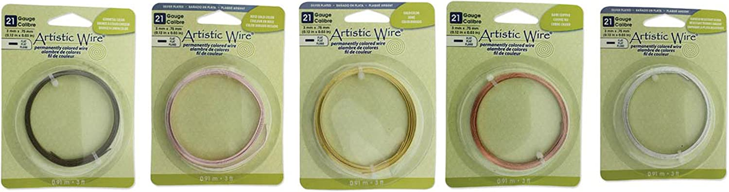 Anti-Tarnish Silver Bundle Silver Plate Gold Copper Antique Brass 21 Gauge 3mm Wide 5 Colors Artistic Wire Flat Wire Each Rose Gold