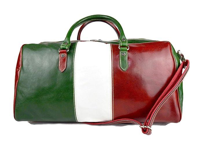 40c392c641 Borsone uomo donna borsa viaggio con manici e tracolla vera pelle bandiera  italiana retro verde borsa