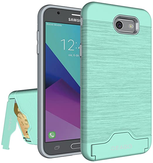 cheap for discount e7cc4 be528 for Samsung Galaxy J7V J7 V Case, J7 Perx / J7 Sky Pro / J7 Prime/Halo / J7  2017 Case, OEAGO [Card Slot] [Brushed Texture] Heavy Duty Hybrid Dual ...