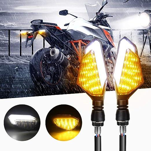 Evermotor Universal Motorcycle LED 3 fils Clignotant Fl/èche 1 Paire /éclairage diurne DRL feu de freinage