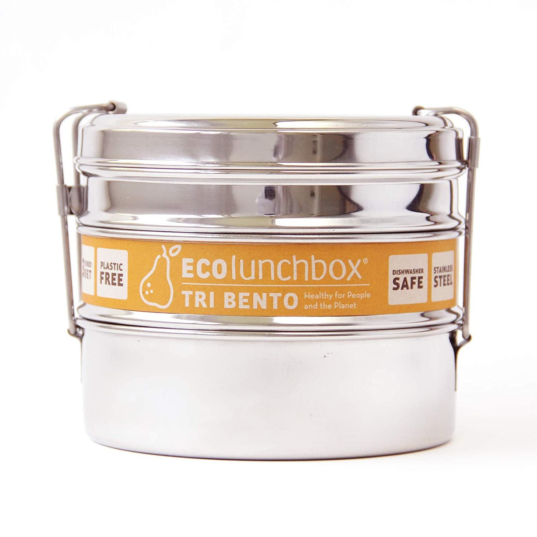 ecolunch Box Tri Bento, 3pezzi, Barattolo Tondo in Acciaio Inox | Bento Box | Lunch Box | contenitore per pane ECOlunchbox A1
