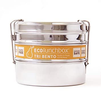 Amazon.com: ECOlunchbox Tri Bento Acero Inoxidable Lunchbox ...