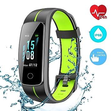 CHEREEKI Montre Connectée, Podomètre Bracelet Connecté Etanche IP68 Cardiofréquencemètre Stopwatch Contrôle de La Musique Smart