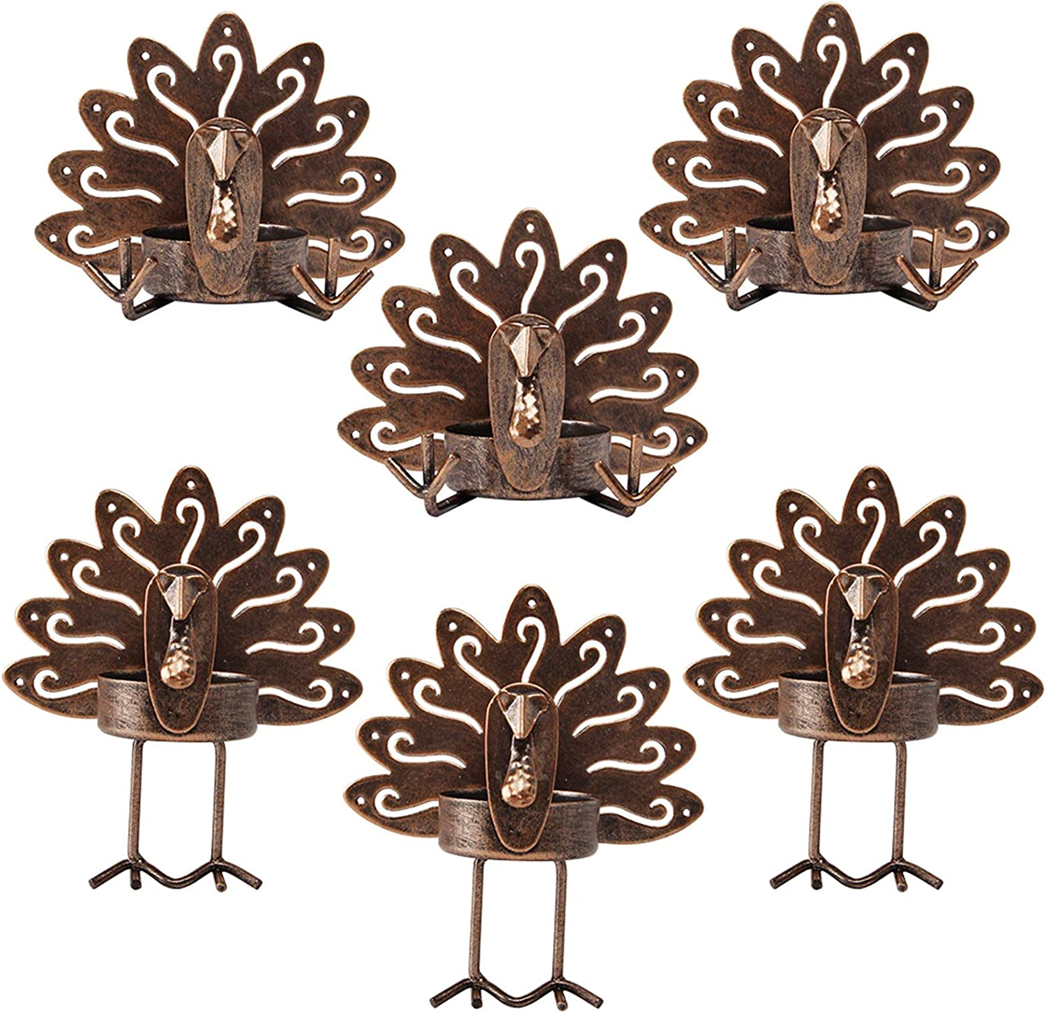 yosager Turkey Tea Light Candle Holders Metal, Thanksgiving Decoration Tealight Holder Set of 6, Rustic Decor Best for Thanksgiving Day Holiday Tabletop Home Decoration