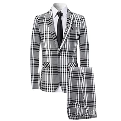 34d2460cef02 Mens 3 Piece Suit Check Plaid Slim fit One Button Formal Dress Blazer Jacket  Tux Vest