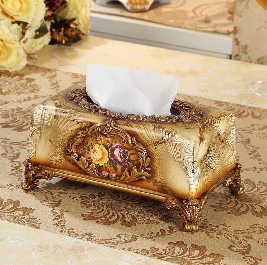 Hyun times European high-grade resin carved tissue box napkin box fashion creative home decor retro luxury pumping tray by Hyun times tissue box (Image #1)