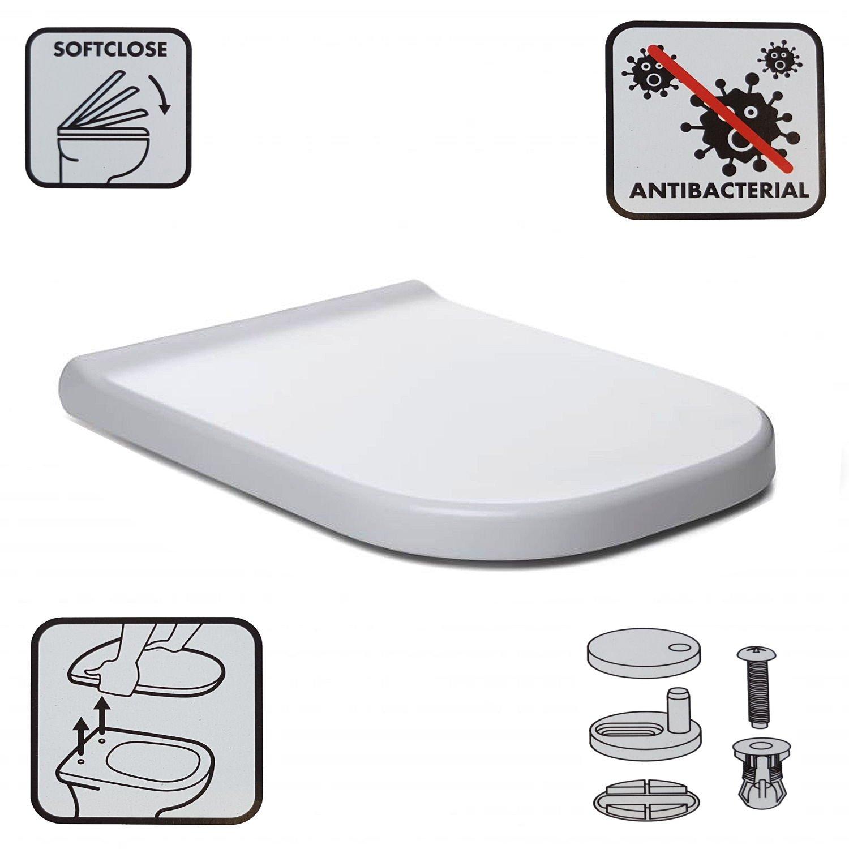 WCShop24/Couvercle Rectangulaire Si/ège de toilettes SlowClose blanc Abattant de WC avec charni/ères amovibles Couvercle anti-griffures antibact/érien Abaissement Automatique