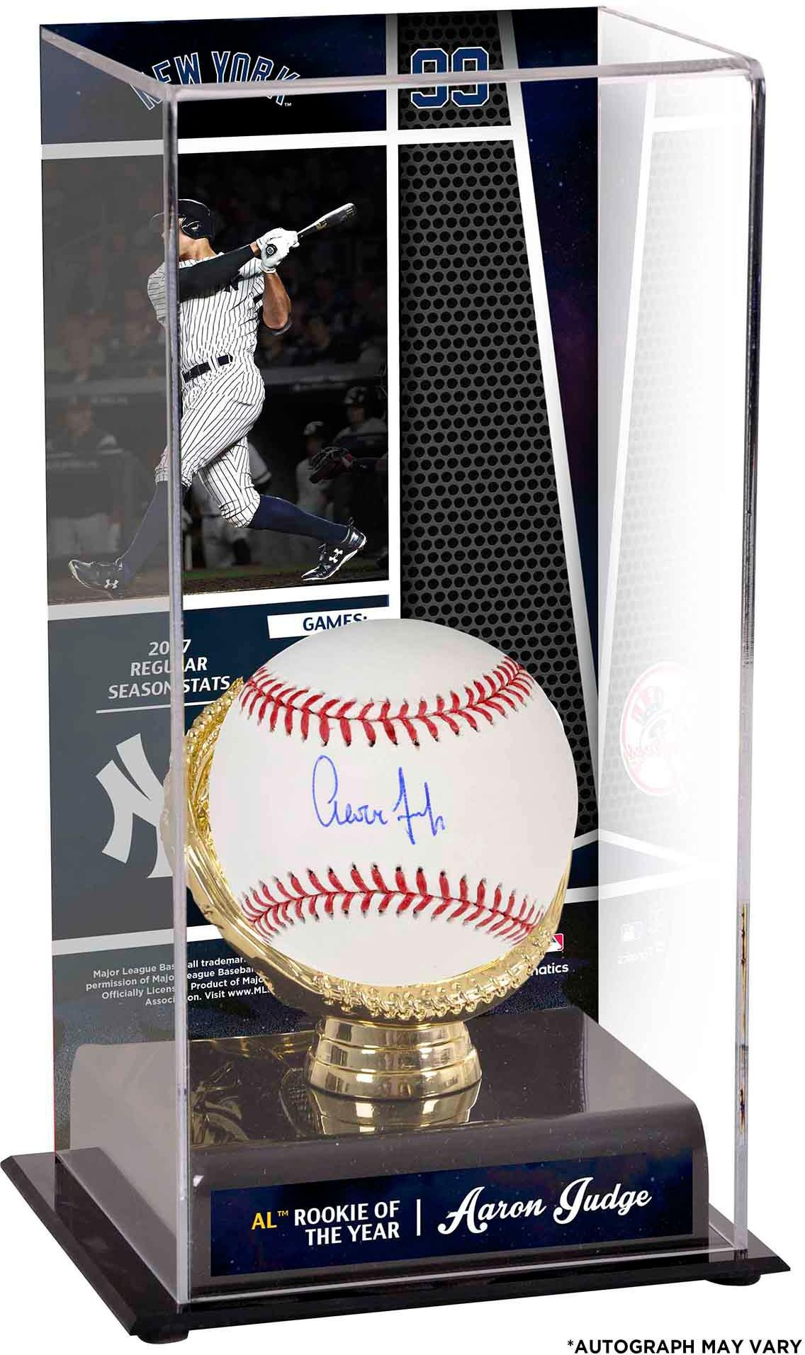 Aaron Judge New York Yankees Autographed Baseball and 2017 Rookie of the Year Sublimated Display Case with Image Fanatics Authentic Certified