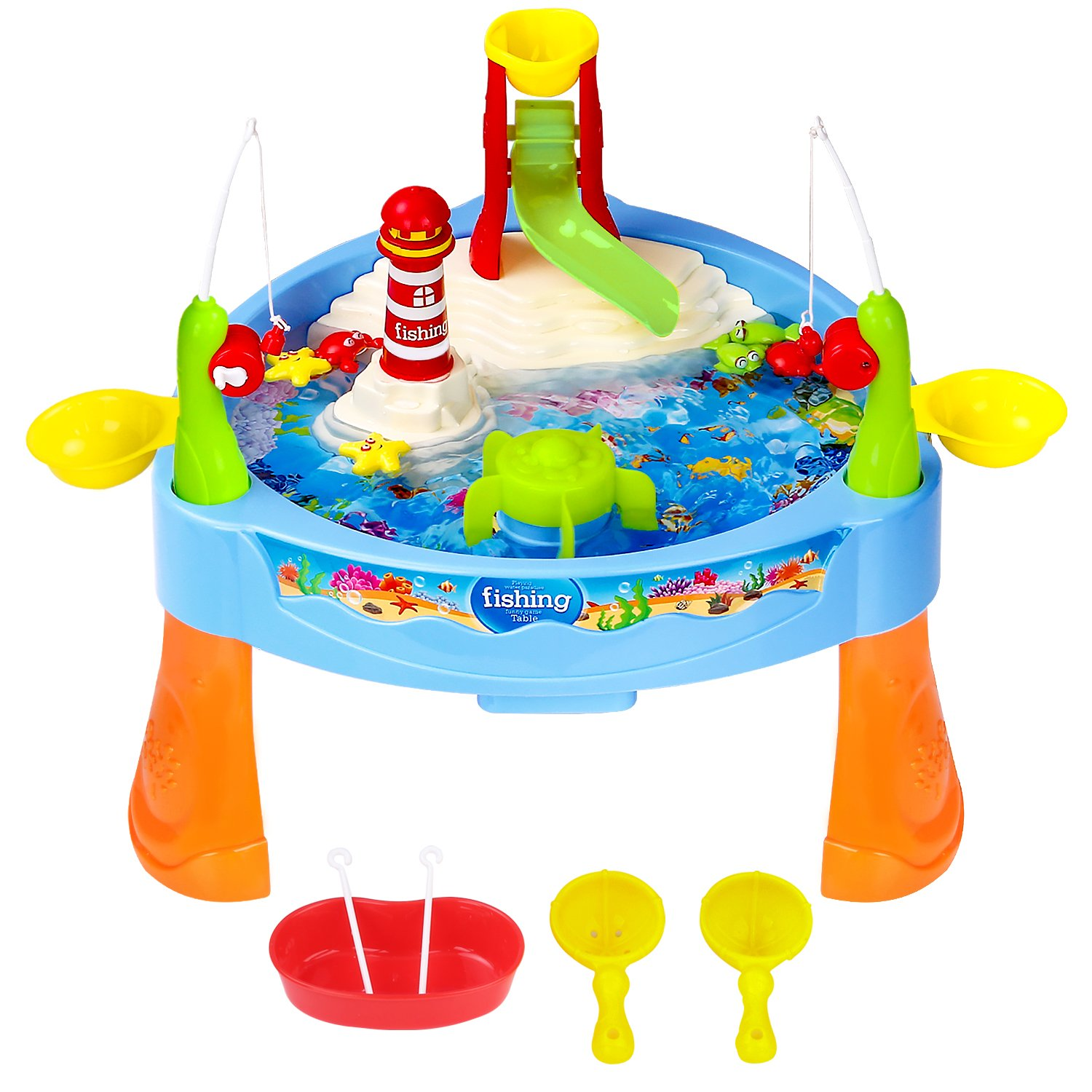 Zooawa Mini Fishing Game Set 11.81 x 6.7 Inch, Electric Magnetic Rod and Reel Toy Water Playing Fun Paradise [25 Pcs] with Music and Light for Kids and Toddlers, Colorful