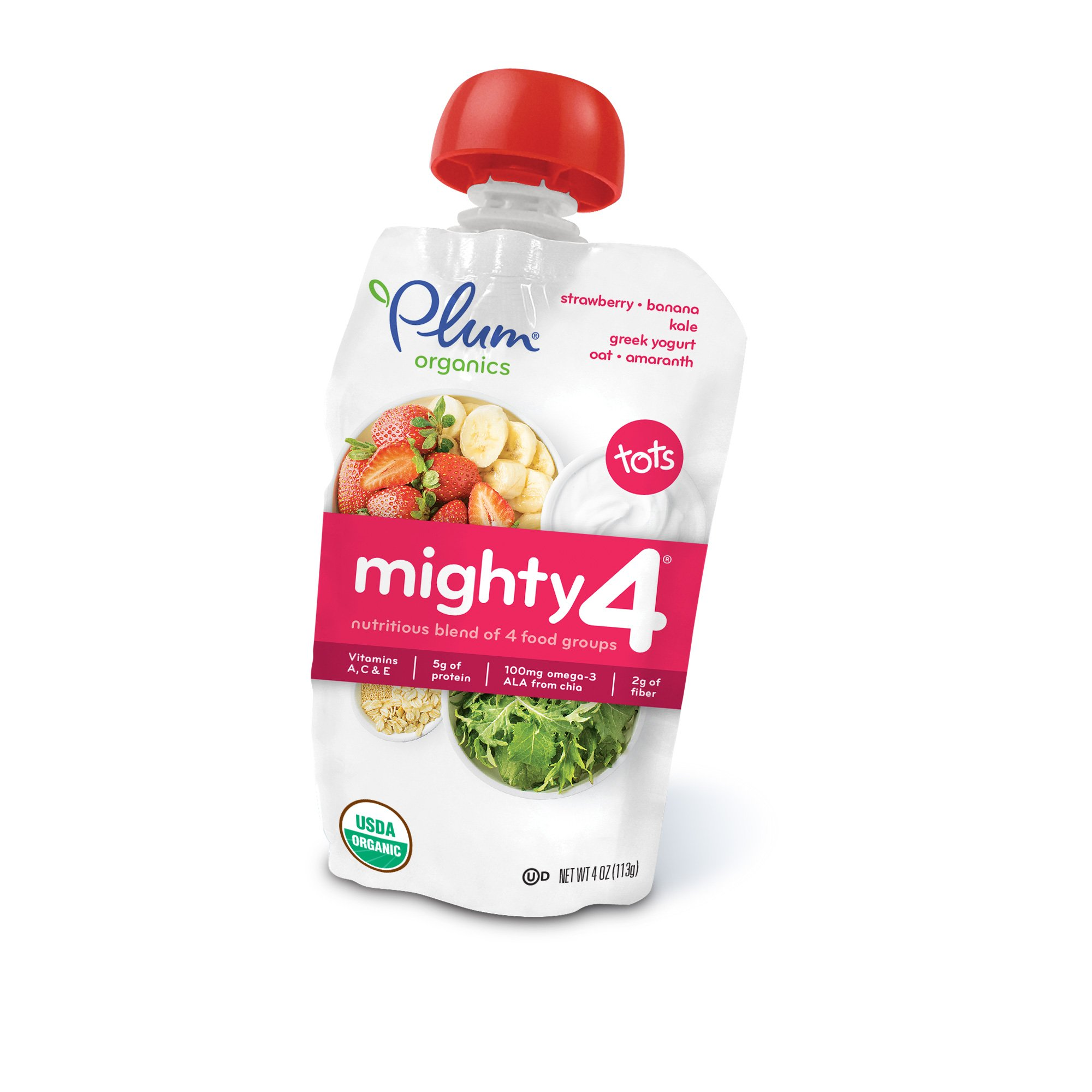 Plum Organics Mighty 4, Organic Toddler Food, Strawberry, Banana, Kale, Greek Yogurt, Oat and Amaranth, 4 ounce pouch (Pack of 12)