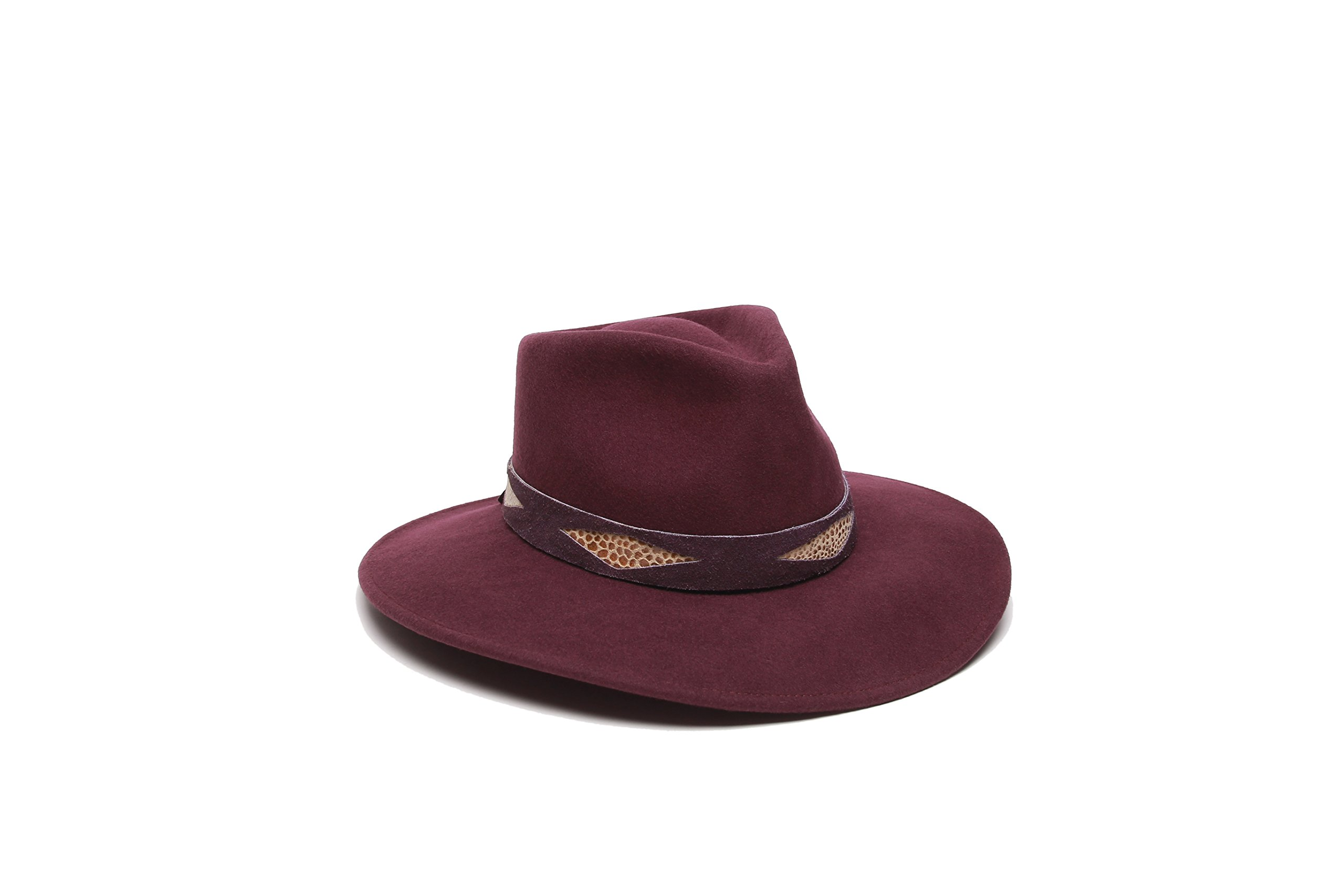 'ale by alessandra Women's Cobra Adjustable Felt Hat with Suede Trim, Bordeaux, Adjustable Head Size