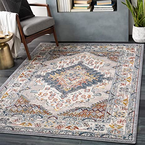 Haymond 6 7 X 9 Traditional Area Rug Medium Gray Taupe Pale Blue Teal Cream Burnt Orange Lime Charcoal Made In Turkey Rectangle Rug 100 Polypropylene Kitchen Dining