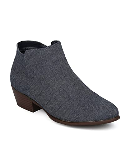 Women Low Heel Ankle Bootie - Denim Low Chunky Heel Ankle Boot - Versatile Casual Dressy Everyday Boot - HE52 by Refresh Collection