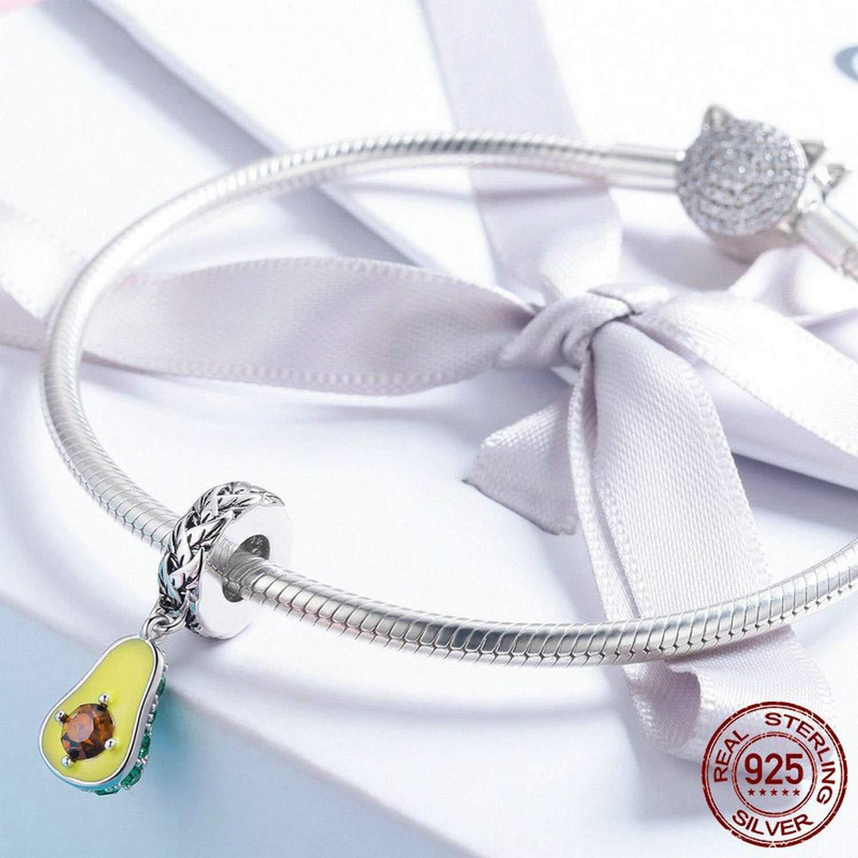 EverReena Beads Fruit Avocado Glitter Zircon Dangle Charms for Silver Bracelets