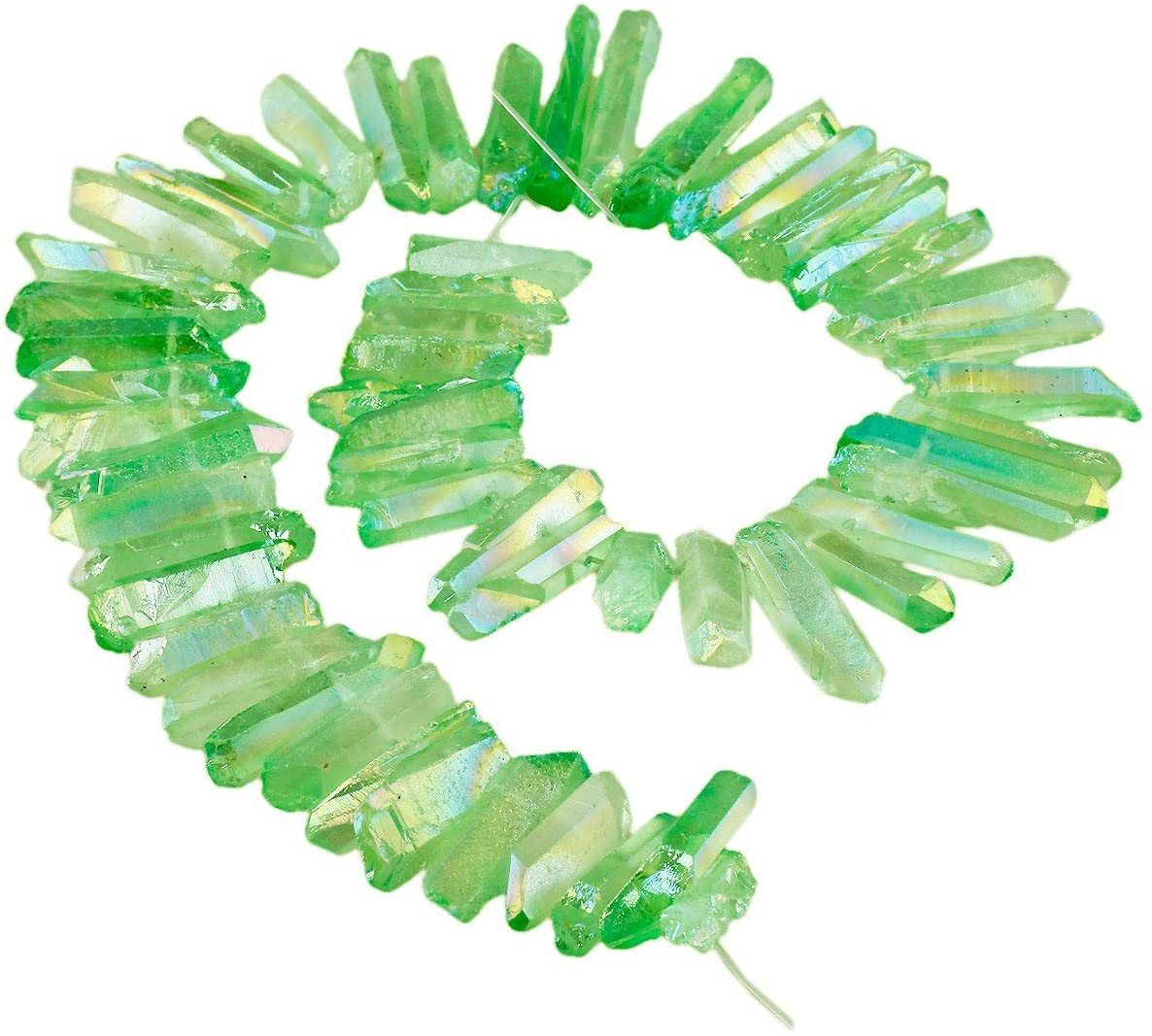 Clear Crystal Quartz Points Beads Crown Crystal Beads Crystal Strands Raw Crystal Points Beads Crystal Tower Beads