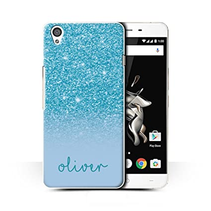brand new 6746c c0783 Stuff4 Personalised Custom Glitter Effect Case for OnePlus X/Turquoise  Design/Initial/Name/Text DIY Cover