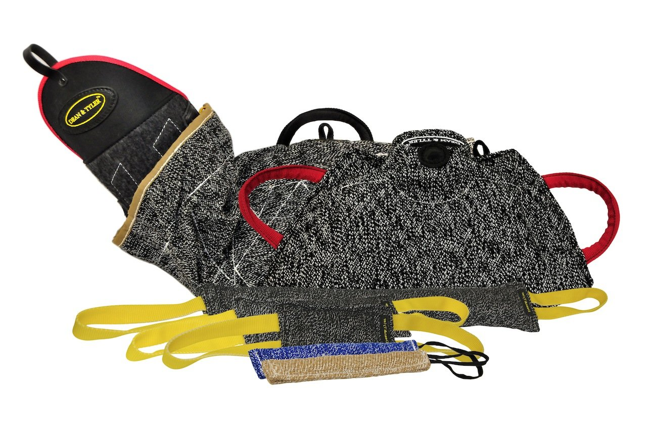 Dean & Tyler 7-Piece Professional Training Bundle Set for Dogs with 1 Intermediate Sleeve 1 Young Dog Bite Builder 2 Pocket Tugs 1 Small Tug 1 Medium Tug 1 Large Tug