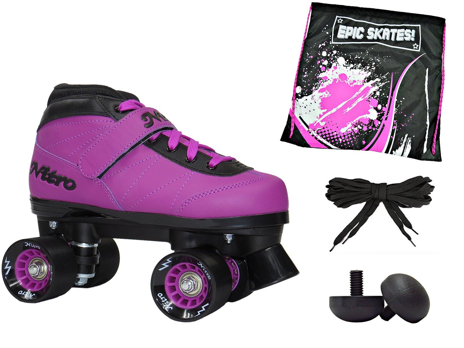Epic Nitro Turbo Purple Indoor Outdoor Quad Roller Speed Skates W/ Bonus Bag & Plugs! (Mens 8)