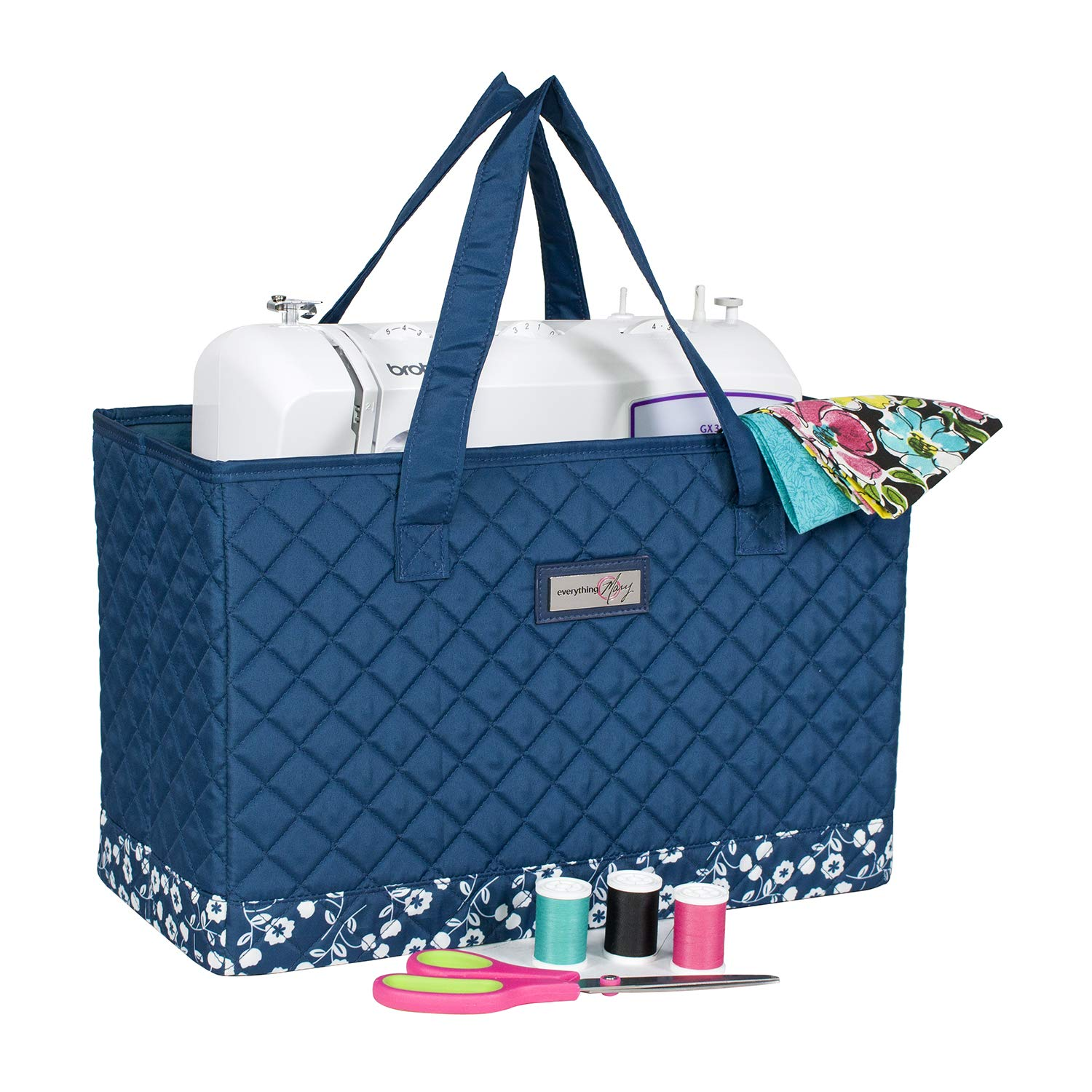 Everything Mary Deluxe Quilted Blue & Floral Sewing Machine Carrying Case - Sewing Machine Cover Case Tote Bag for Brother, Singer, Standard Size Machines - Sewing Bag with Handles for Travel by Everything Mary