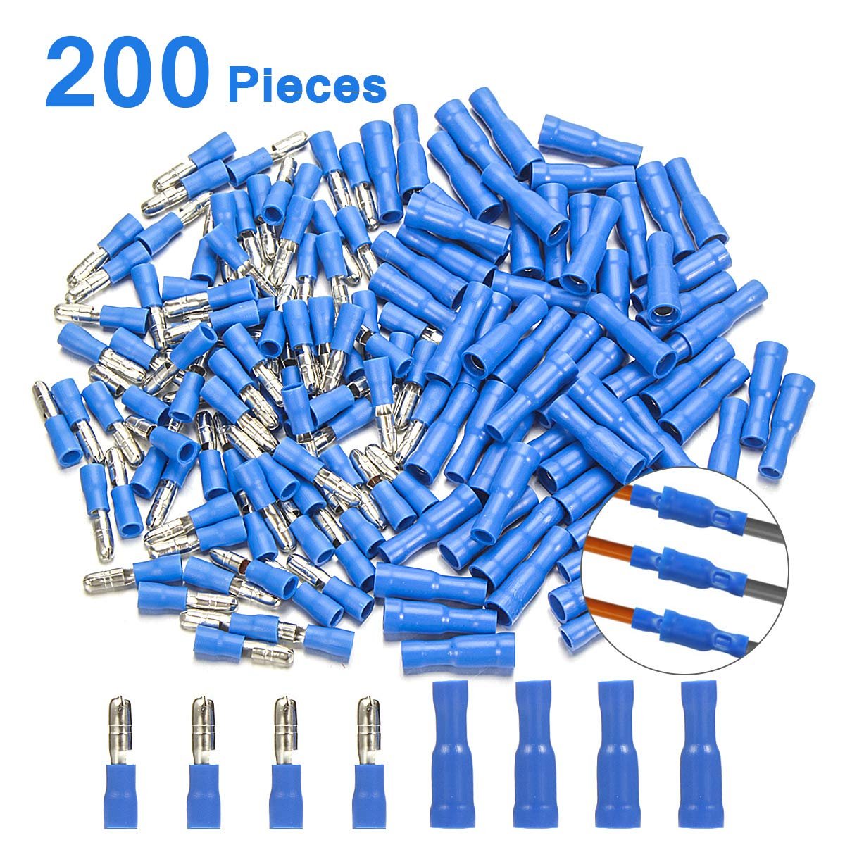 Male Female Car Audio Quick Disconnect Wire Bullet Connector Blue 16-14 Ga 100