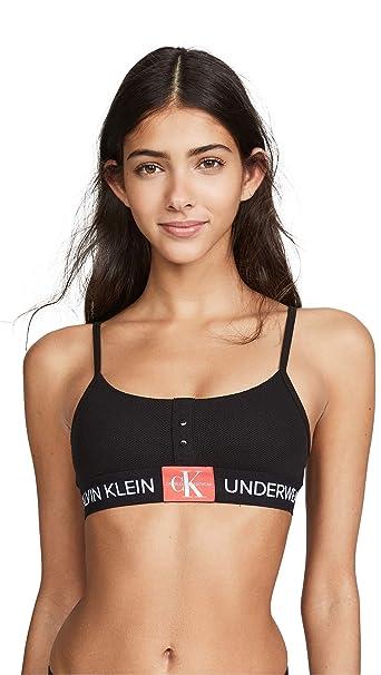 8175ee9500f Calvin Klein Underwear Women's Monogram Mesh Bralette, Black, Medium at  Amazon Women's Clothing store:
