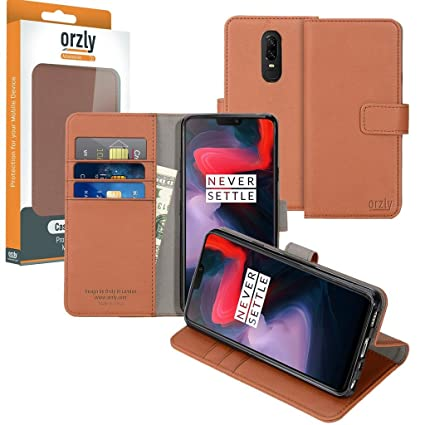 quality design dbf45 a0ca8 OnePlus6 Wallet Case - Orzly Multi-Function Wallet Case for The OnePlus 6  (2018 Model Smartphone) - Brown TAN Protective Cover with Card Pockets & ...