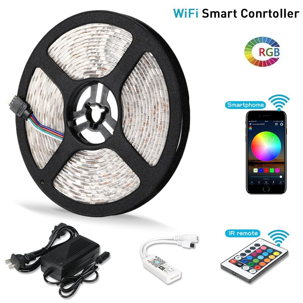 Litake LED Strip Lights, Wifi Wireless Smart Phone APP Controlled Light Strip Kit 16.4ft 300 Leds 5050 Waterproof IP65 LED Lights, Working with Android/IOS System, Alexa by Litake