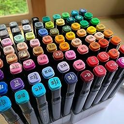 Amazon マーカーペン 水彩筆 アートマーカー ホビー イラスト マーカー セット 2種類のペン先 太字 細字 80色 アートマーカー 文房具 オフィス用品