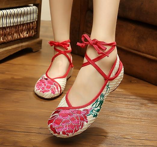 YQQ Red Lotus Bestickte Schuhe, Sehnensohle, ethnischer Stil, Femaleshoes, Mode, bequem , beige red edge , 40
