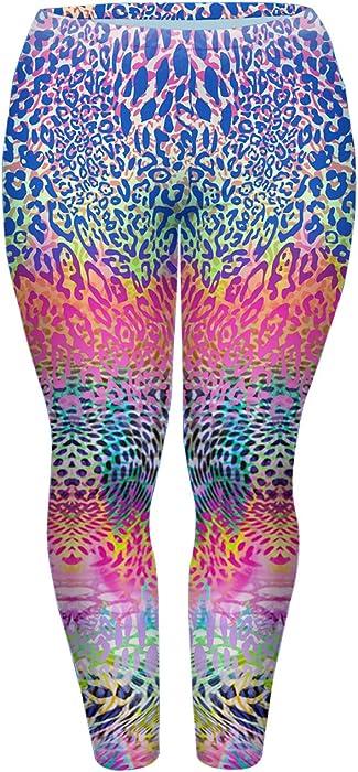5a2d5d53f777b7 CHIC DIARY Damen bunt Übergröße Leggings Elastische Plus Size ...