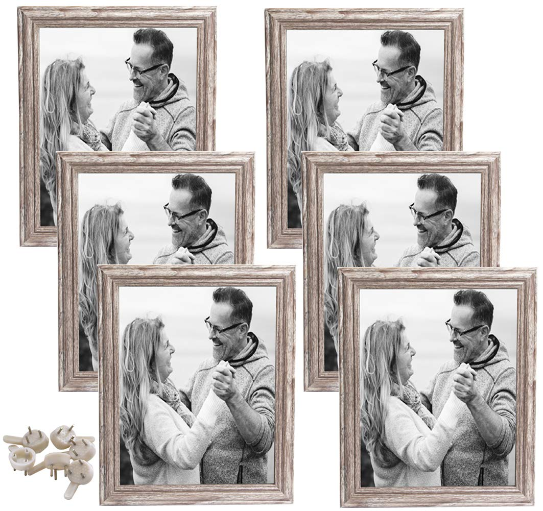 hierkryst Rustic Wall 8x10 Picture Frames Glass Wood Photo Frames Set for Family,Home and Office,6 Pack