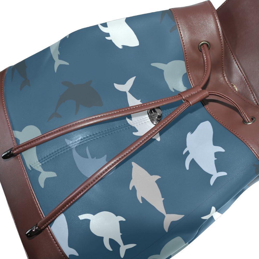 KUWT Sea Animal Shark PU Leather Backpack Travel Shoulder Bag School College Book Bag Casual Daypacks Diaper Bag for Women and Girl