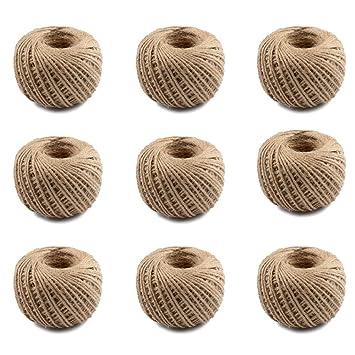 Win-Y Pack de 9 Cuerda de Cáñamo, 2.5 mm 3 Capas Cuerda de