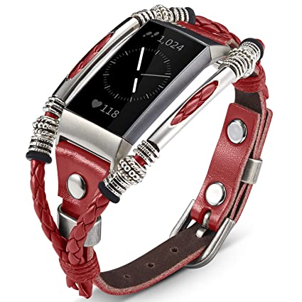 🎁Marval P🎁 Compatible for Fitbit Charge 3 Bands, Handmade Leather Charge  3 SE Band, Classic Clip Design Replacement Bracelet Wristbands, Wrist