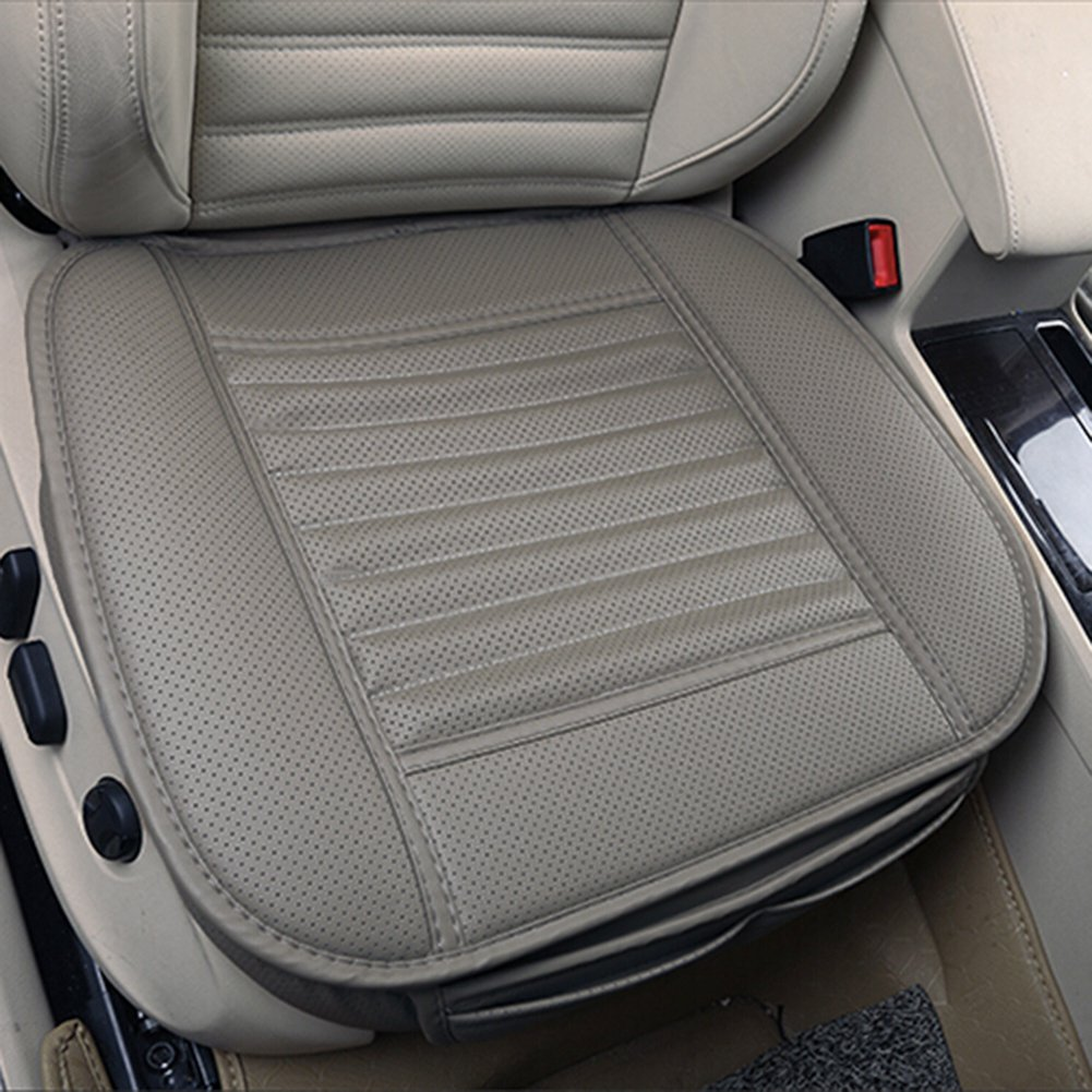 Comfortable and Breathable Four Seasons General Pu Leather Bamboo Charcoal Breathable Car Interior Seat Cushion Cover Pad Mat for Office Chair Auto Car Supplies. (Gray) MYMM