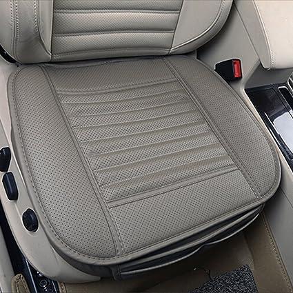 Cojín de asiento, protección del asiento de coche, cómodo y transpirable Cuatro estaciones generales Pu cuero Bambú carbón de leña transpirable coche ...