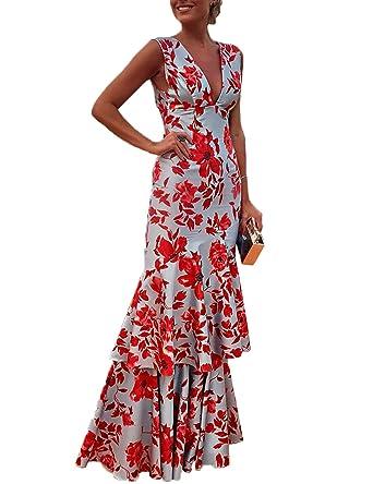 Boutiquefeel Women Floral Plunge Ruffles Layered Hem Evening Dress: Amazon.co.uk: Clothing
