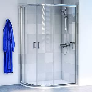 Aqualux 1193801 inclinado cuadrante ducha almacenaje, pulido Plata, 1000 mm x 800 mm: Amazon.es: Bricolaje y herramientas