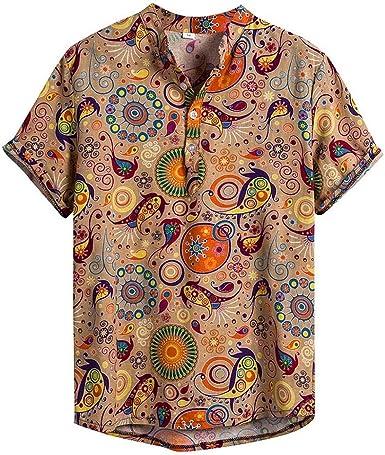 Camisa Verano Hombre Manga Corta Camisas Casual para Hombre Estilo Bohemio impresión de Hawaii Playa Camisas Hombre Verano Polos Manga Corta Hombre Camiseta Funky Camisas Manga Corta Hawaii Shirt: Amazon.es: Ropa y