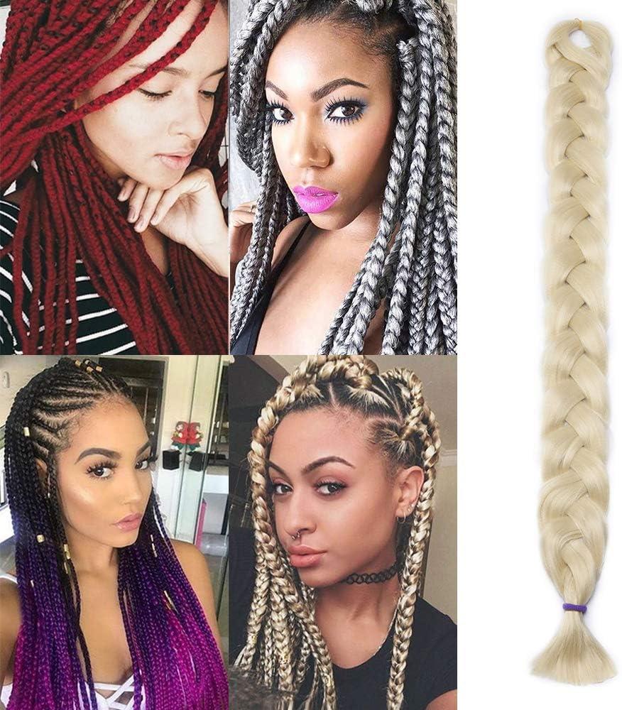 Silk-co Extensiones de Pelo Sintético para Trenzas Africanas Braiding Hair Cabello Se Ve Natural Braiding Twist Crochet Hair 1Pieza #Rubia Pálida (100cm,165g)