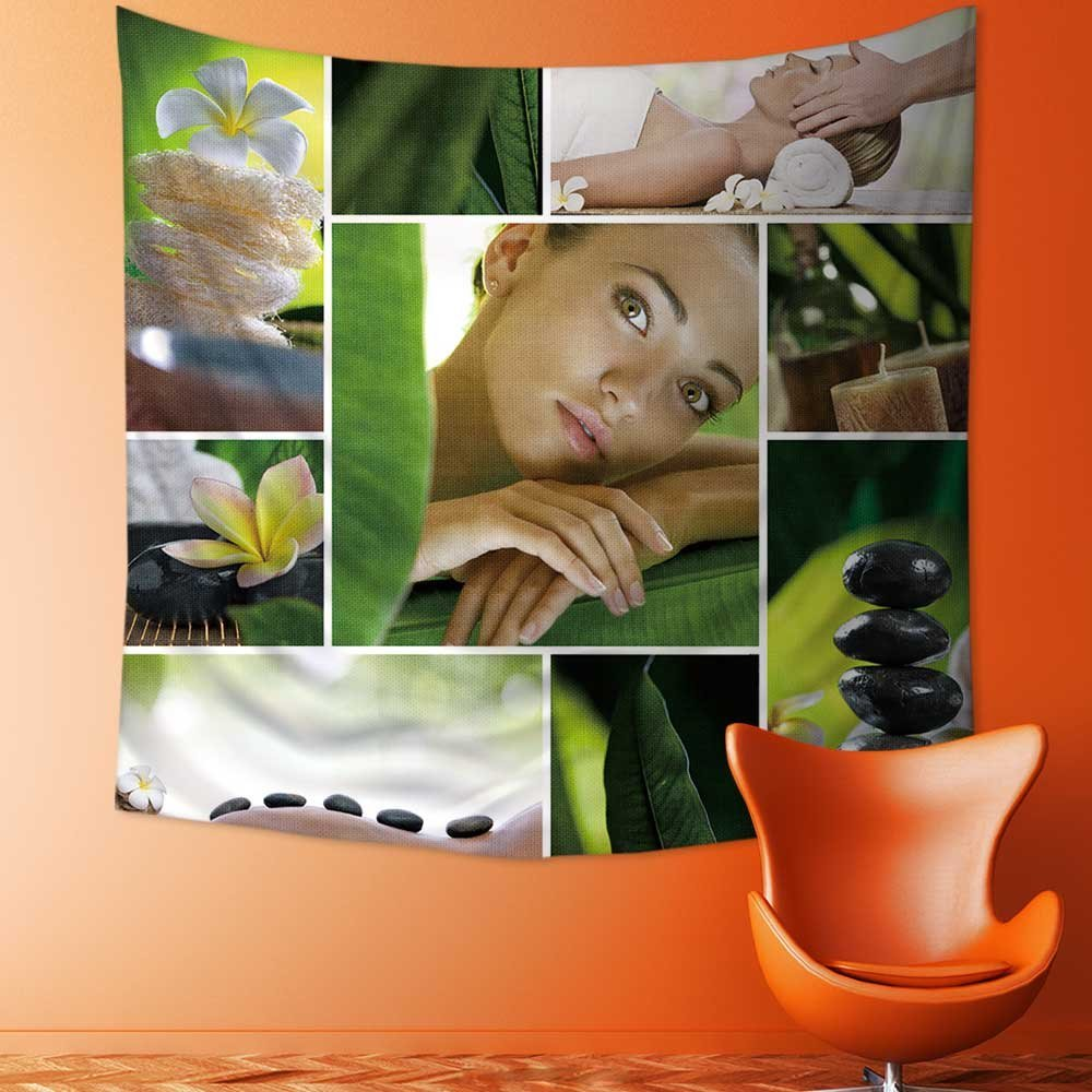 SOCOMIMI Tapestry Wall Hanging Tapestry Spa theme photo collage composed of different images Home Room Wall Decor/43.3W x 43.3L INCH