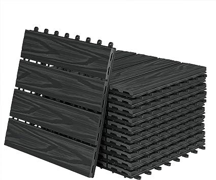 Laneetal WPC 11xpiezas,1m² Baldosas Terraza Exterior Porche de Suelo Azulejos madera de plástico para terraza jardín balcón baño spa,30x30cm,el Color Antracita,0360026: Amazon.es: Bricolaje y herramientas