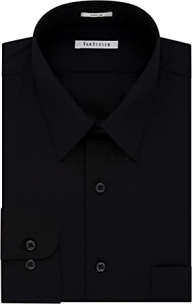Van Heusen Mens Dress Shirt Regular Fit Poplin Solid Dress Shirt